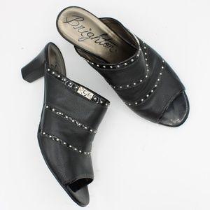 Brighton Teri Black Slip On Mules Heels Size 8.5